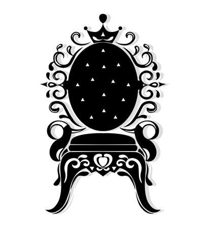 Vintage armchair black silhouette. French Luxury rich carved ornaments decorated furniture. Vector Victorian Royal Style structures Illustration