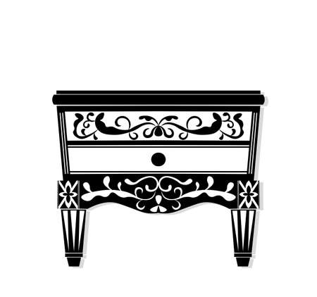 Vintage black furniture Vector. Rich carved ornaments furniture collection. Vector Victorian Style