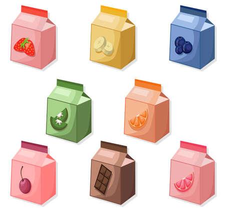 La simulation de la collection de paquets de yaourt ou de lait se reproduit. Illustration vectorielle pour publicité, publicité Vecteurs