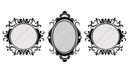 Vintage mirror frames set. Vector collection of round and square vintage frames, design element 向量圖像