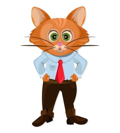 Cute Cat cartoon character animation Vector illustration Illustration