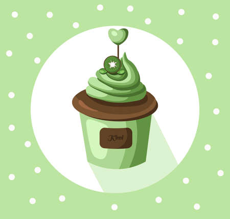 cupcakes isolated: Kiwi cupcake muffin Vector illustration dessert. Template icon for menu, cafe, bakery. Vintage retro background