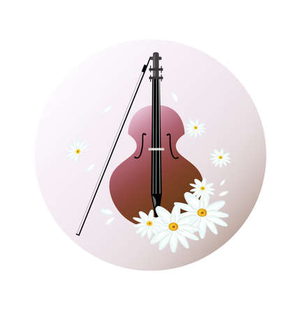Violin instrument background Vector illustration. Chamomile flowers as decor Illustration