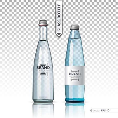 Mineral still or sparkling water bottles mock up. Isolated on transparent background. Vector 3d detailed mock up set illustrations