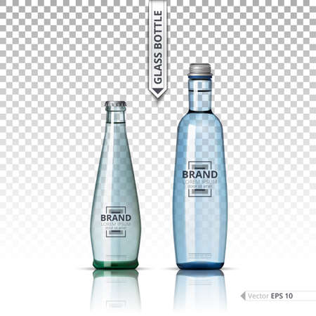 Mineral still or sparkling water bottles mock up. Isolated on transparent background. Vector 3d detailed mock up set illustrations