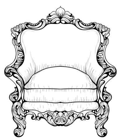 caoba: Sillón barroco con adornos lujosos. Vector De lujo francés rica estructura intrincada. Estilo victoriano
