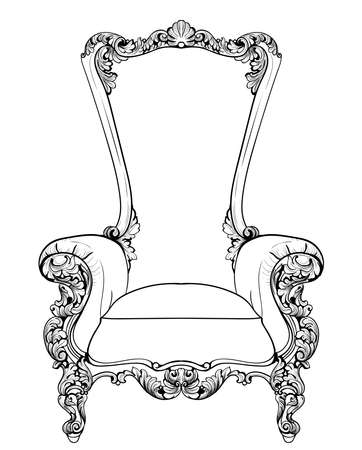 sumptuous: Baroque armchair with luxurious ornaments. Vector French Luxury rich intricate structure. Victorian Royal Style decors Illustration