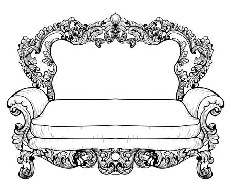 sumptuous: Baroque sofa with luxurious ornaments. Vector French Luxury rich intricate structure. Victorian Royal Style decors