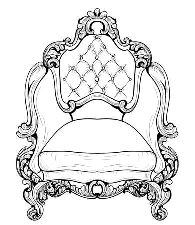 sumptuous: Baroque armchair with luxurious ornaments. Vector French Luxury rich intricate structure. Victorian Royal Style decors Stock Photo