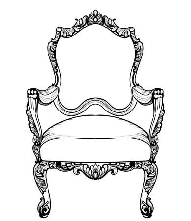 sumptuous: Imperial Baroque armchair with luxurious ornaments. Vector French Luxury rich intricate structure. Victorian Royal Style decor