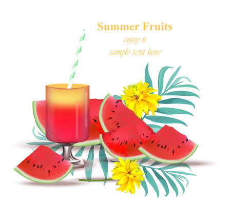 sliced watermelon: Watermelon juice tasty sweet summer background. Refreshing juicy Vector template