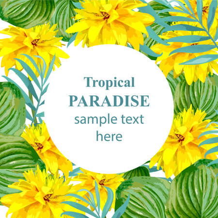 Tropical Paradise vector floral card. Summerl template design with palm leaves and exotic yellow flowers