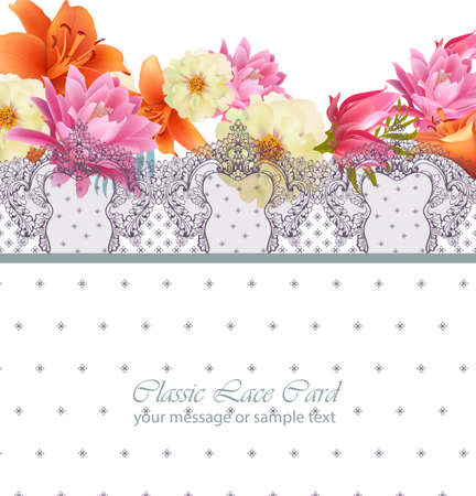 Pink floral card Vector. delicate summer card. Springtime fresh natural composition