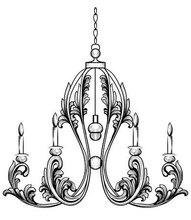 豊富なロココ クラシック シャンデリア。高級装飾アクセサリーのデザイン。ベクトル イラスト スケッチ