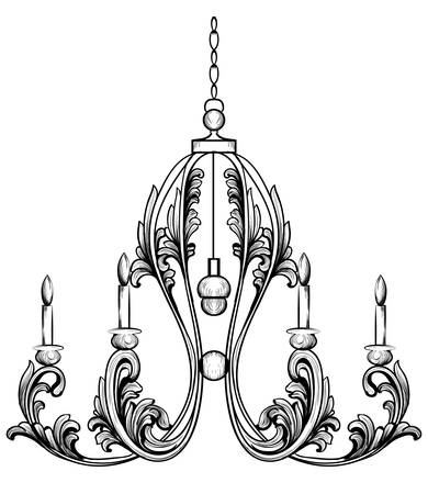 Rich Rococo Classic chandelier. Luxury decor accessory design. Vector illustration sketch Ilustração