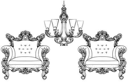 sumptuous: Baroque armchair and chandelier set with luxurious ornaments. Vector French Luxury rich intricate structure. Victorian Royal Style decor Illustration