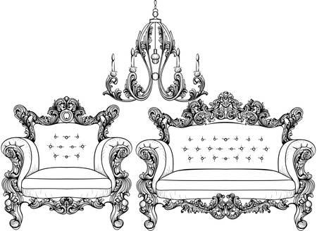 caoba: Sillón y lámpara de araña barroca con lujosos adornos. Vector de estructura intrincada rica de lujo francés. Decoración de estilo victoriano real