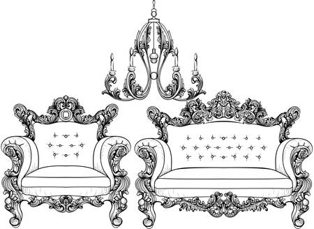 Baroque armchair and chandelier set with luxurious ornaments. Vector French Luxury rich intricate structure. Victorian Royal Style decor Illustration