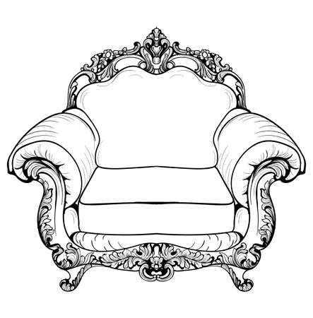 sumptuous: Baroque armchair with luxurious ornaments. Vector French Luxury rich intricate structure. Victorian Royal Style decor Illustration