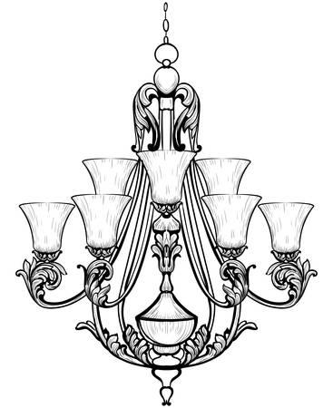 Rich Baroque Classic chandelier. Luxury decor accessory design. Vector illustration sketch Ilustração