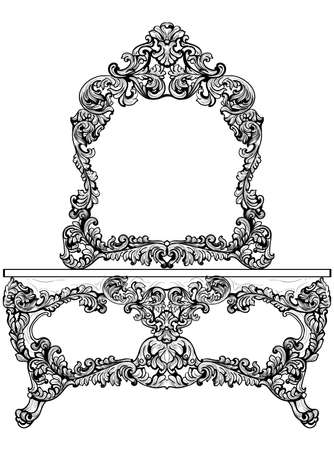 Exquisite Baroque dressing table engraved. Vector French Luxury rich intricate ornamented structure. Victorian Royal Style decor