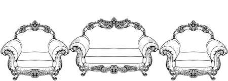 Baroque armchair with luxurious ornaments. V