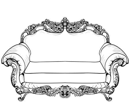 Baroque armchair with luxurious ornaments. Illustration