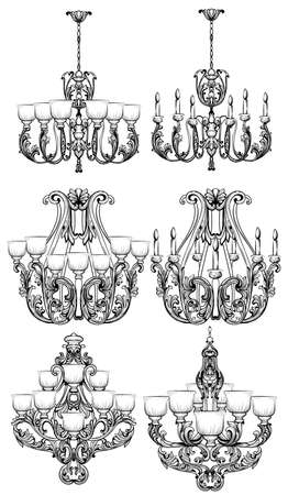 Rich Baroque Classic chandelier set. Luxury decor accessory design. Vector illustration sketch Ilustração