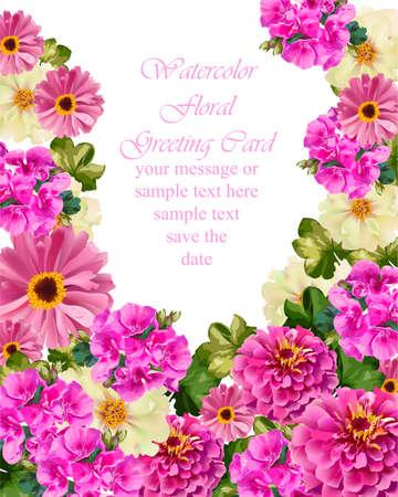 Pink floral card Vector. delicate summer card. Springtime fresh natural composition