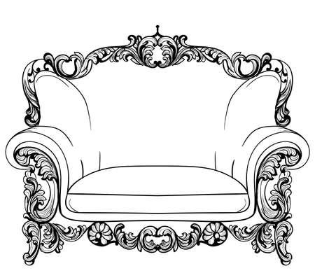 Sillón barroco con adornos lujosos. Vector De lujo francés rica estructura intrincada. Decoración victoriana de estilo real