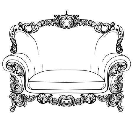 Baroque armchair with luxurious ornaments. Vector French Luxury rich intricate structure. Victorian Royal Style decor Illustration