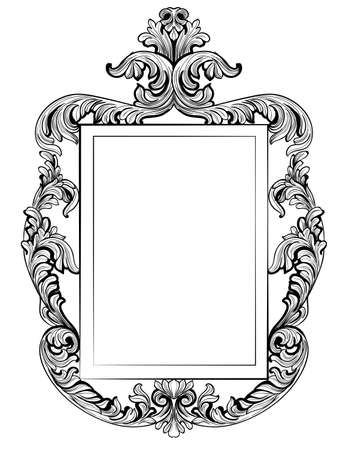 Fabulous Baroque Mirror frame set. Vector French Luxury rich carved ornaments. Victorian wealthy Style furniture Çizim