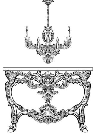 Exquisite Baroque console table and chandelier engraved. Vector French Luxury rich intricate ornamented structure. Victorian Royal Style decor Illustration