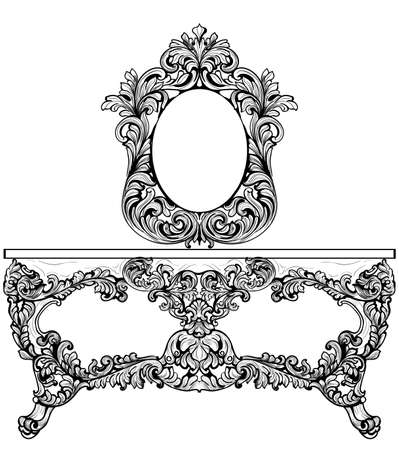 refinement: Exquisite Baroque dressing table engraved. Vector French Luxury rich intricate ornamented structure. Victorian Royal Style decor
