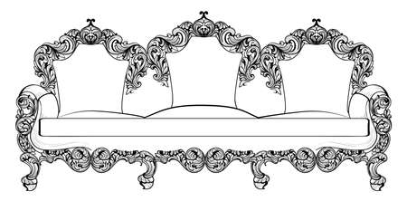 Baroque furniture set with luxurious ornaments. Vector French Luxury rich intricate structure. Victorian Royal Style decor Illustration