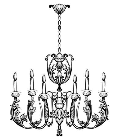 Rich Baroque Classic chandelier. Illustration