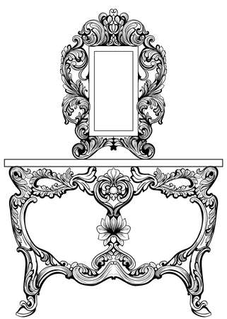 Exquisite baroque dressing table engraved.