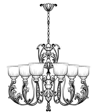 Rich Baroque Classic chandelier. Luxury decor accessory design. Vector illustration sketch Stock Photo