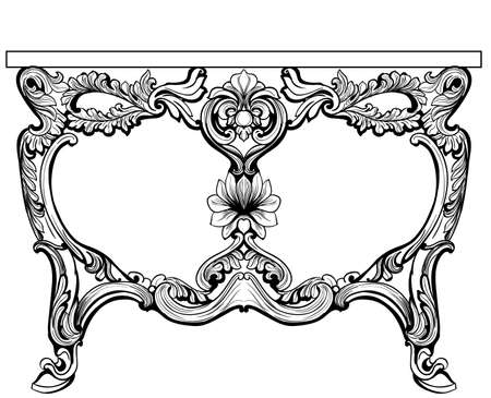 refinement: Baroque console table engraved. Vector French Luxury rich intricate ornamented structure. Victorian Royal Style decor Stock Photo