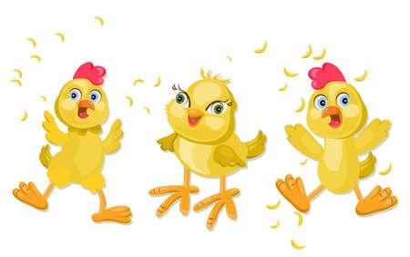 Dibujos animados divertidos de pollo. Pet faces Ilustraciones vectoriales Foto de archivo - 83034098