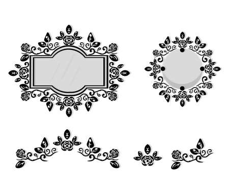 Ornamented mirror or photo frame. Vector backgrounds
