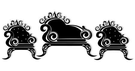 Baroque black furniture rich. Ornamented background Vector illustration Stock Photo
