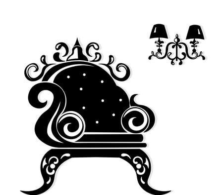 Baroque black furniture rich set. Handmade ornamented decor. Vector illustration