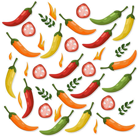 Hot Chili peppers pattern detailed colorful vector illustration template background Stock Vector - 83153424