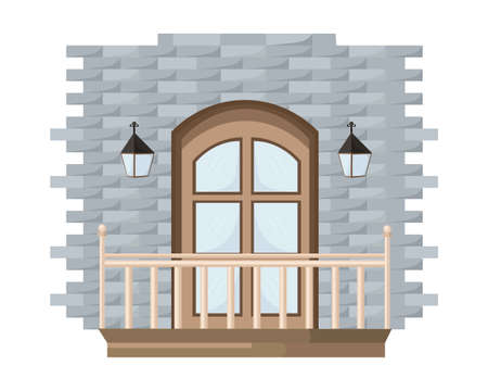 Vintage Vector entrance door facade background illustration