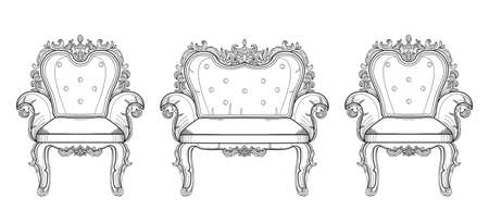 Barokke meubels rijke set collectie. Versierde achtergrond Vector illustratie