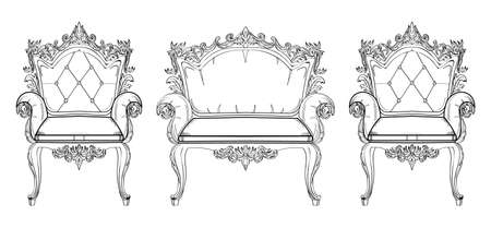Baroque furniture rich set collection. Ornamented background Vectors illustration Illustration