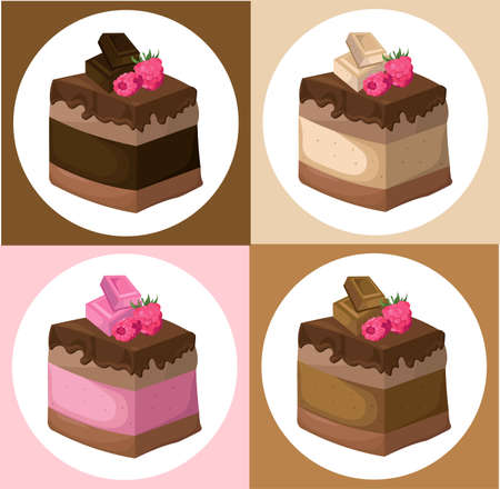 Delicious chocolate Cake collection Vector illustration