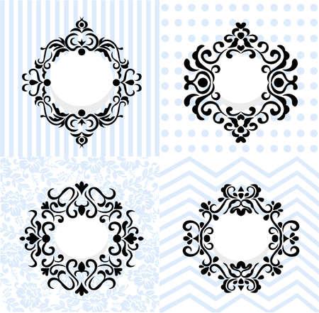 Vintage mirror frames set. Vector collection of round and square vintage frames, design element Illustration