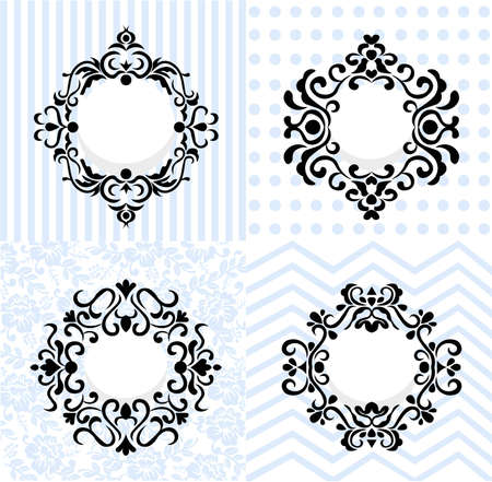 Vintage Mirror Frames Set. Vector Collection Of Round And Square ...
